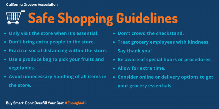 Safe Shopping Guidelines: only visit the store when it's essential. Don't bring extra people to the store. Practice social distancing within the store. use a produce bag to pick your fruits and vegetables. avoid unnecessary handling of all items in the store. don't crowd the checkstand. Treat grocery employees with kindness. Be aware of special hours/ procedures. allow for extra time. Consider online or delivery options to get your grocery essentials.